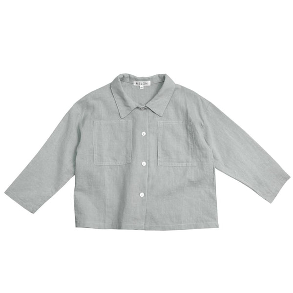 MELON Kids Boy Cotton Linen Shirt, Pistachio Green
