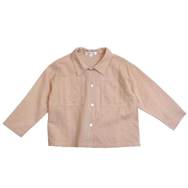 Cotton Linen Shirt, Cantaloupe