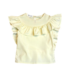 MELON Kids Girl Ruffles Top, Lemon Yellow