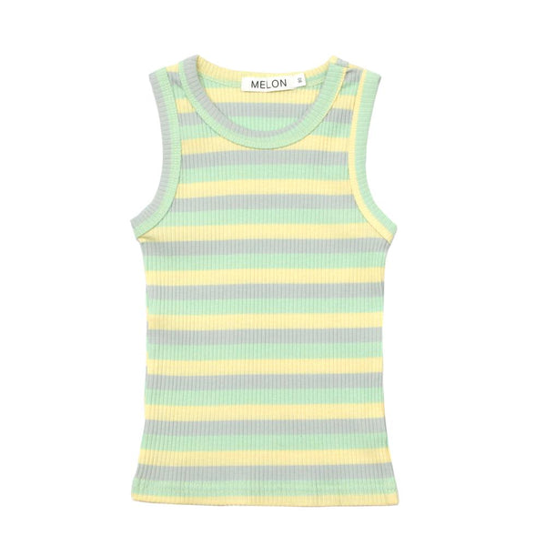 MELON Kids Girl Cotton Ribbed Tank Top, Mint Green