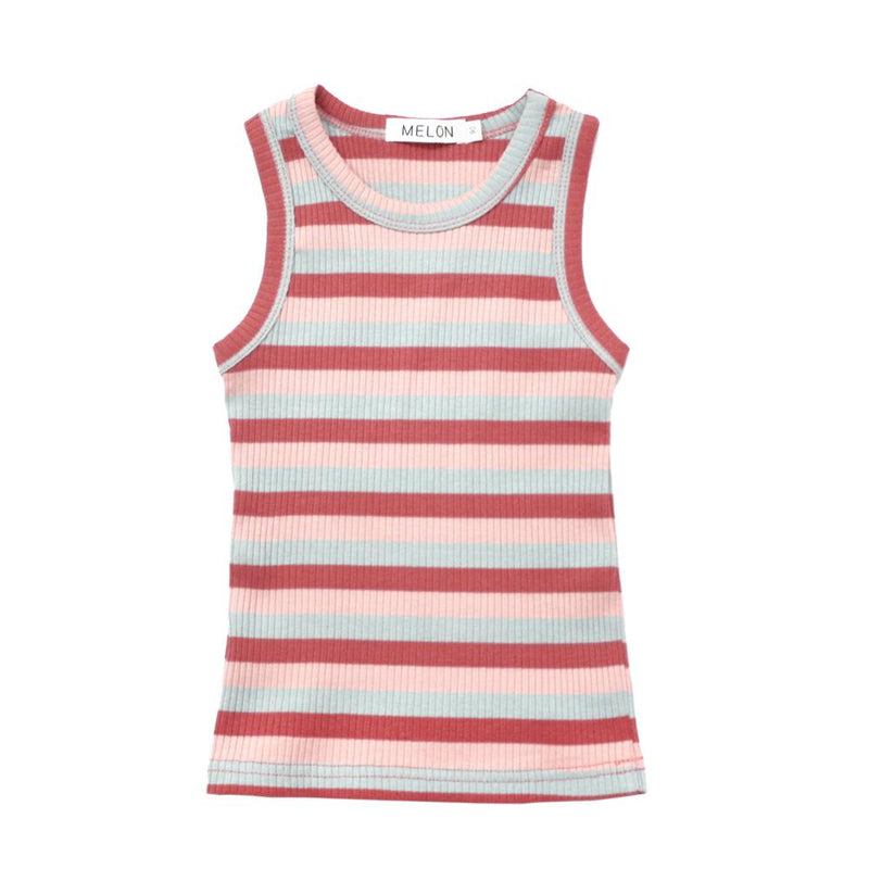 MELON Kids Girl Cotton Ribbed Tank Top, Apple Red