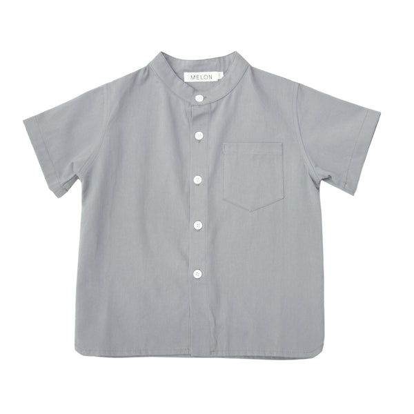Boxy Grandad Shirt, Anchor Grey