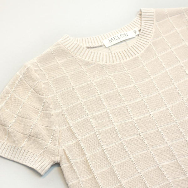 *Hot Faves* Checks Knit Top, Buttermilk