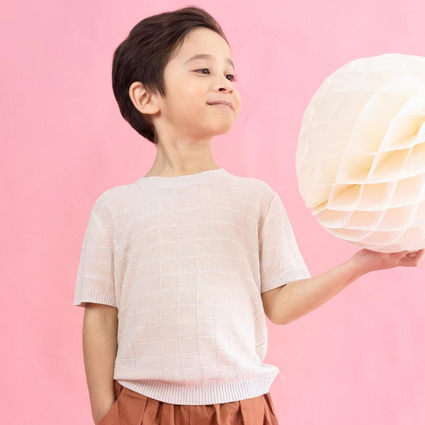 MELON Kids Boy Checks Knit Top, Buttermilk Cream
