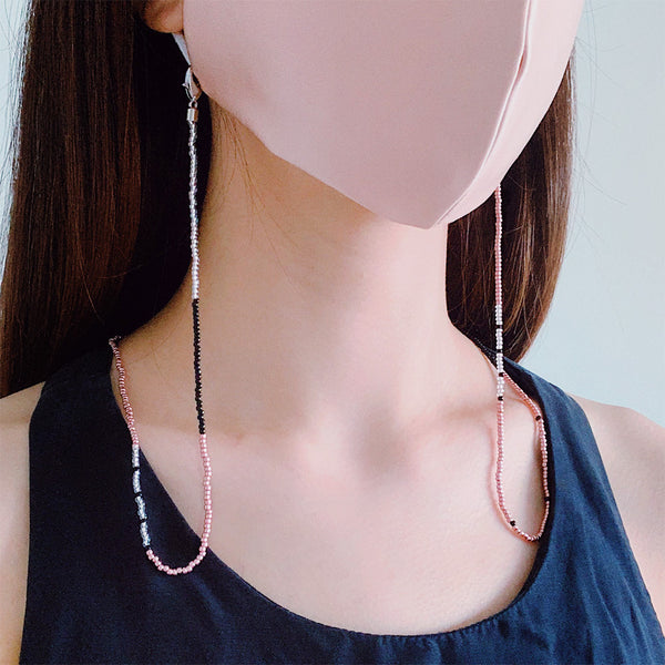 JOY Versi Adult Face Mask Chain, Rose Gold + Black + Clear