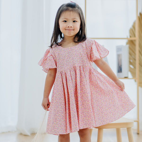 Empire Dress, Rose Pink with sprinkles print