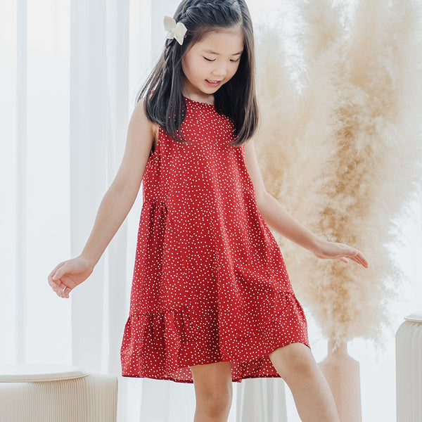 *Size 100 & 110 only* Chiffon Tent Dress, Cherry Red with polka dots