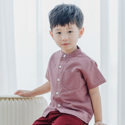 *Hot Fave* Boxy Grandad Shirt, Grape Red