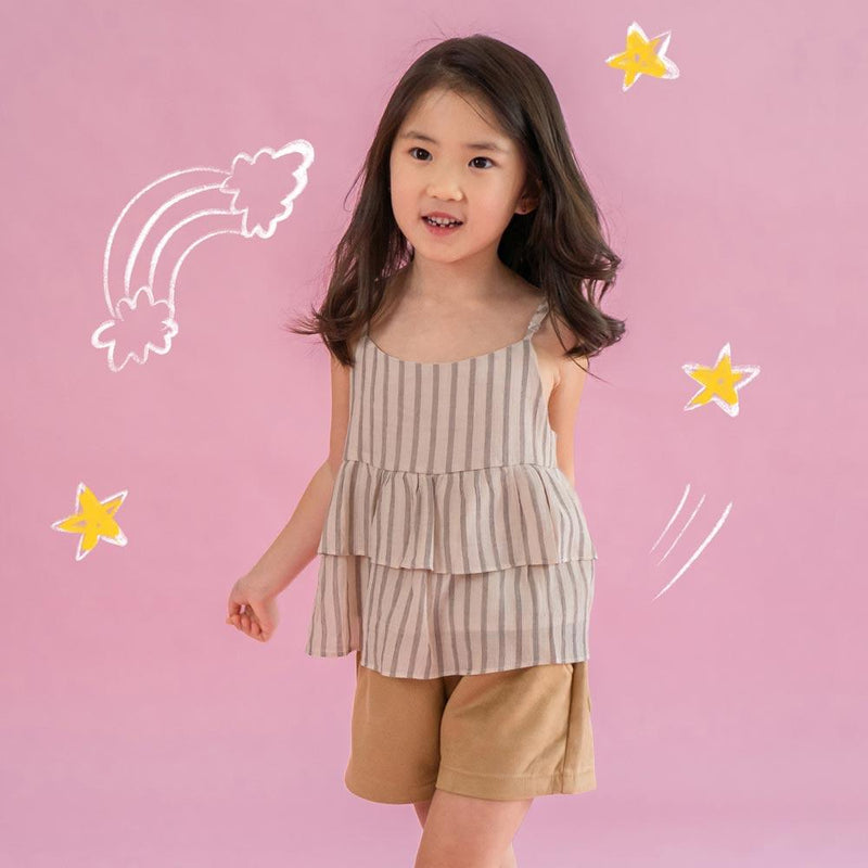 Melon Kids Babydoll Top, Latte with Stripes