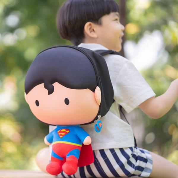 Licensed Justice League Superman 3D backpack on boy