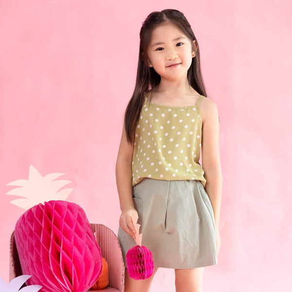 MELON Kids Girl Polka Dots Tank Top, Pear Green