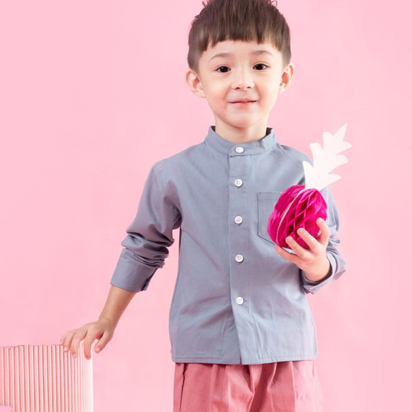 MELON Kids Long Sleeve Grandad Shirt, Grape Purple