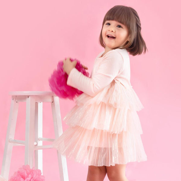 MELON Kids Girl Tulle Dress, Blush Pink