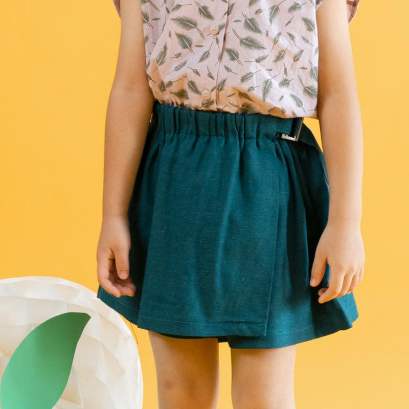 MELON Kids Girl Cotton Skorts, Basil Green