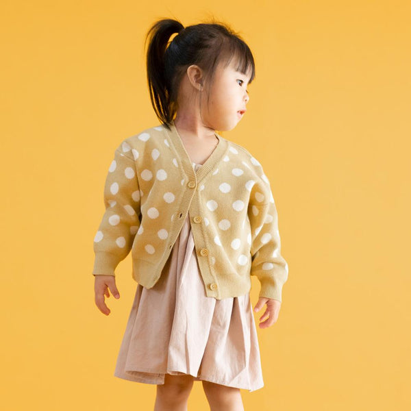 MELON Kids Girl Polka Dots Knit Cardigan, Mustard Yellow