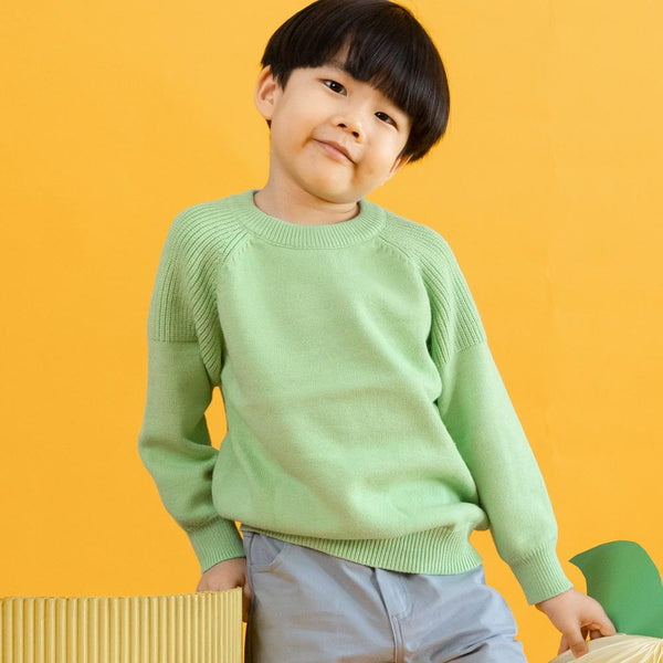 MELON Kids Boy/Girl Cotton Knit Jumper, Lime Green