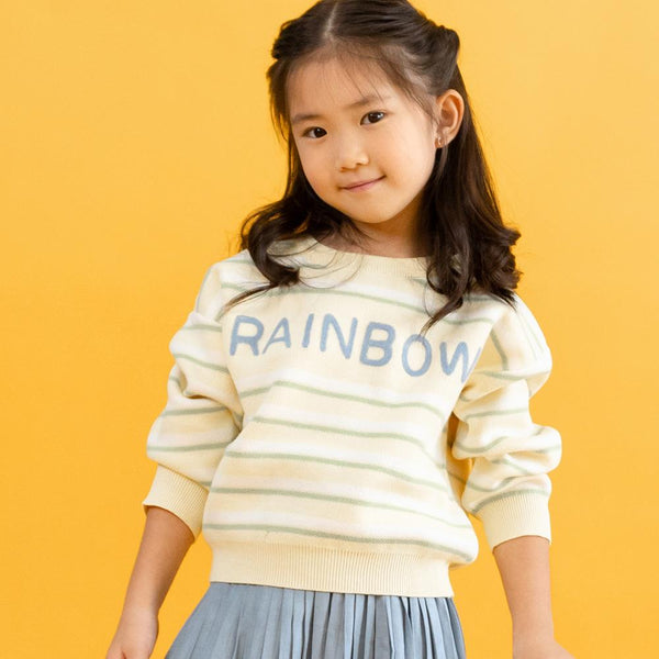 MELON Kids Boy and Girl Statement Knit Jumper, Lemon Yellow