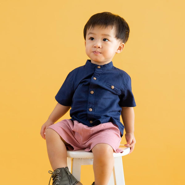 MELON Kids Boy Grandad Shirt, Navy Blue