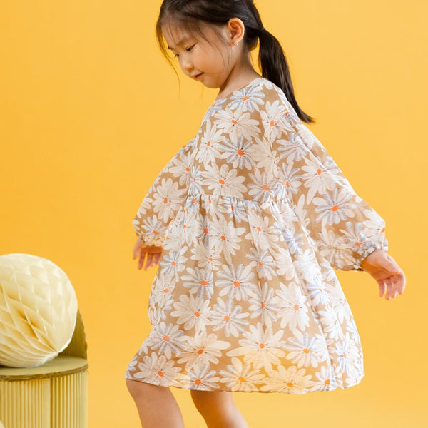 MELON Kids Girl Floral Chiffon Dress, Latte