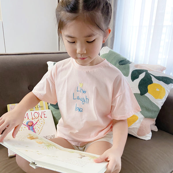 *NEW* Soft Cotton Tee with Embroidery, Blush Pink
