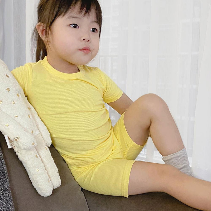 *Hot Fave* Cotton Ribbed Loungewear Set, Pineapple Yellow