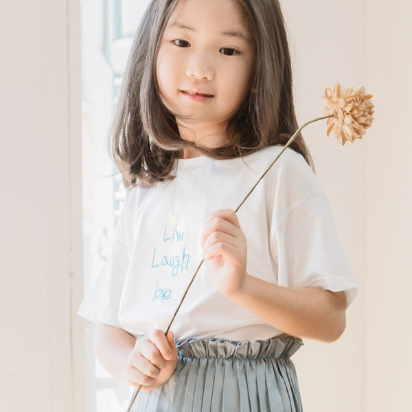 *NEW* Soft Cotton Tee with Embroidery, Daisy White