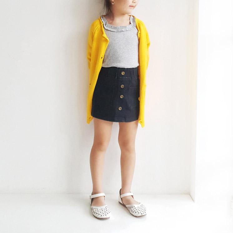 *Size 90 only* Cotton Knit Long Cardigan, Butter