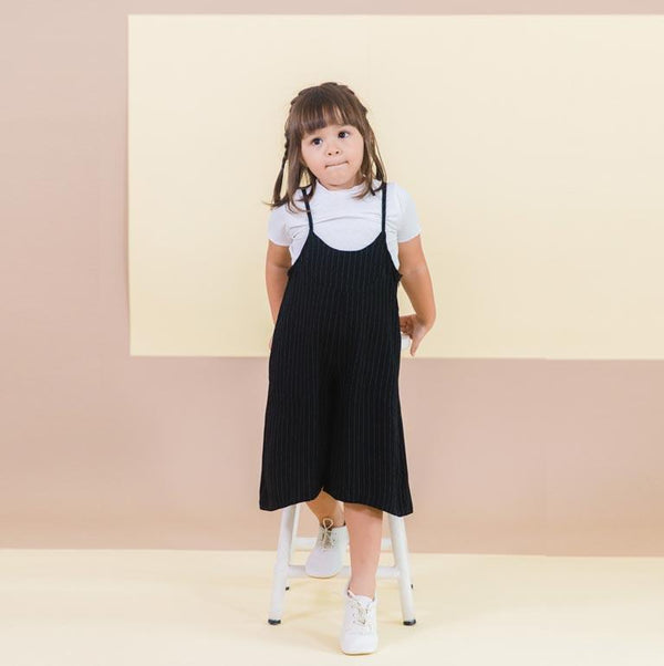 MELON Kids Girl Baggy Playsuit, Ebony with stripes