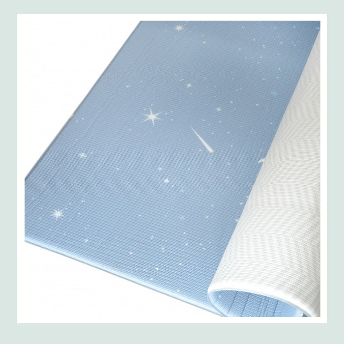 Bambam Kids Twilight Blue / Herringbone Gray : Reversible Petite Size Play Mat