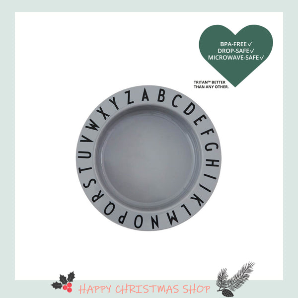 Design Letters Eat & Learn Deep Plate, Grey