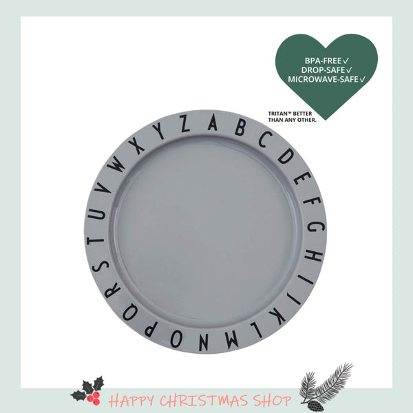 Design Letters Eat & Learn Plate, Grey