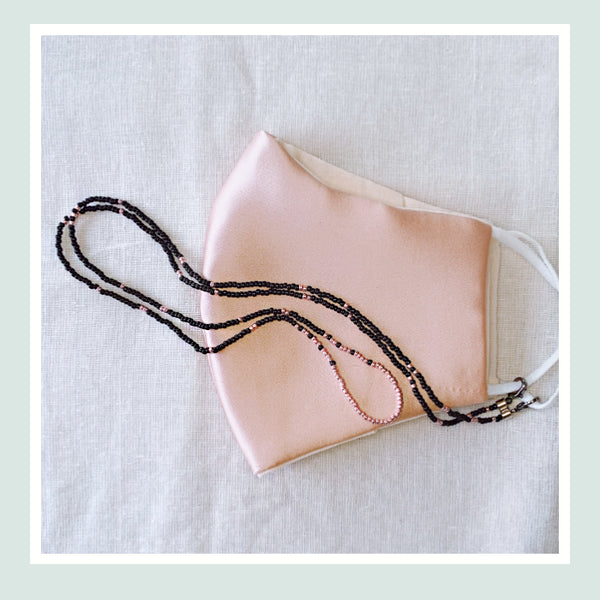 JOY Versi Adult Face Mask Chain, Black + Rose Gold