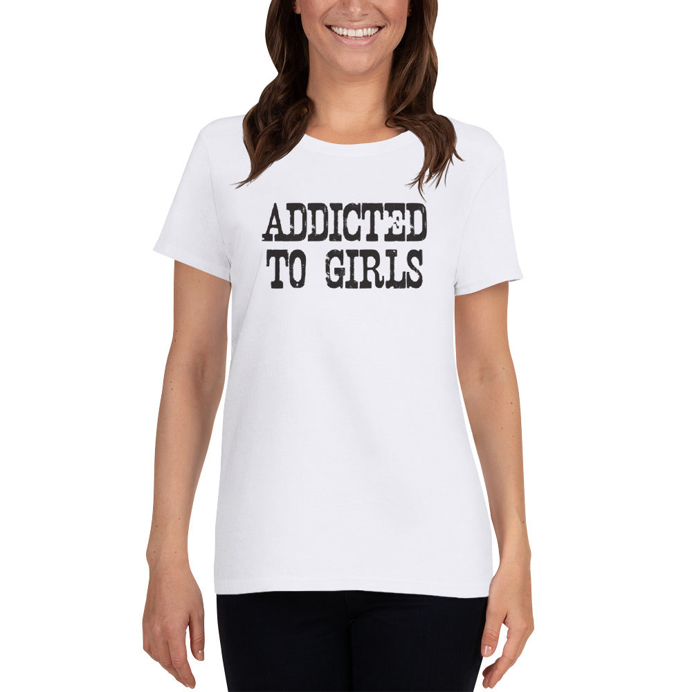 faee93655 Addicted To Girls Women's short sleeve t-shirt – Read My Funny T Shirt