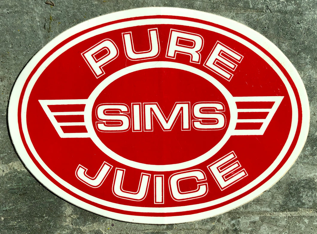 Sims Pure Juice Vintage Skateboard Sticker from the 1970's