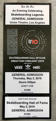 Unused Ticket from the 2019 Skateboarding Hall of Fame Induction Ceremony