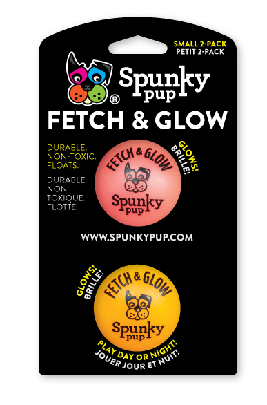 Spunky Pup Fetch & Glow Small Ball 2pk (assorted colors)