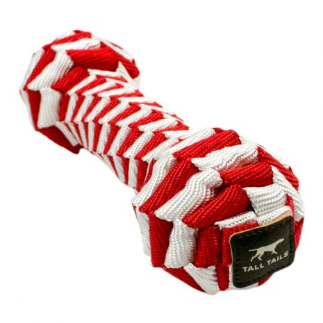 Tall Tails 9in Red & White Braided Bone Toy Christmas