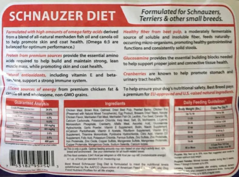 Dr. Gary's Best Breed Schnauzer Dog Diet 4lbs