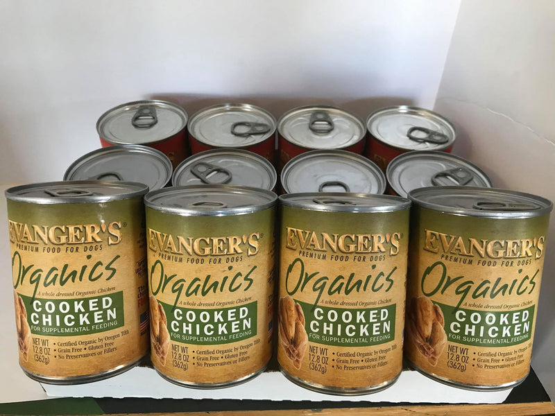 Evangers 100% Organic Cooked Chicken Canned Dog Food Case of 12, 13oz Cans