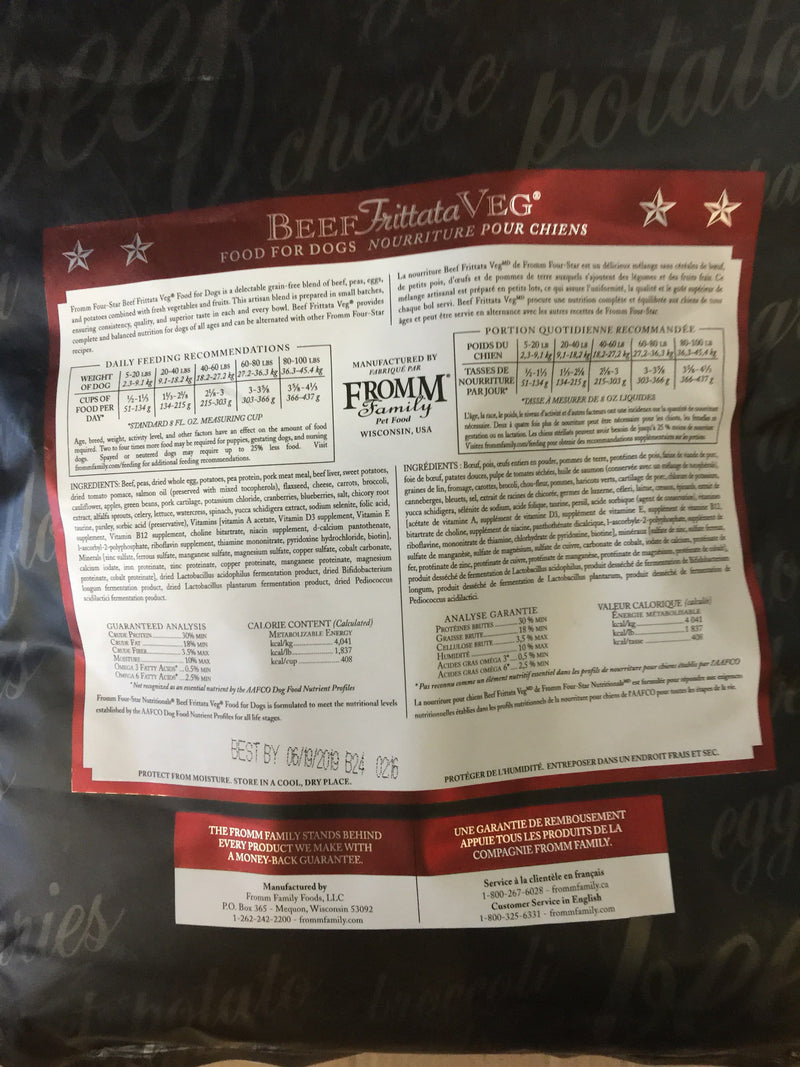 Fromm Family Four Star Beef Frittata Dog Food 4lbs