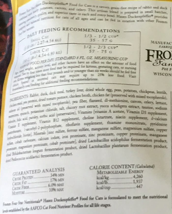 Fromm Family Four Star Hasen Duckenpfeffer Recipe Cat Food 2lbs