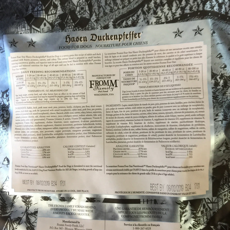 Fromm Family Four Star Hasen Duckenpfeffer Grain Free Dog Food