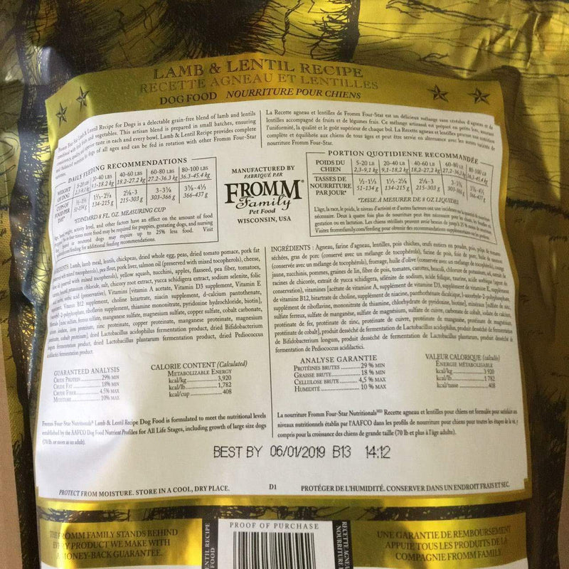Fromm Family Four Star Grain Free Lamb & Lentil Recipe Dog Food