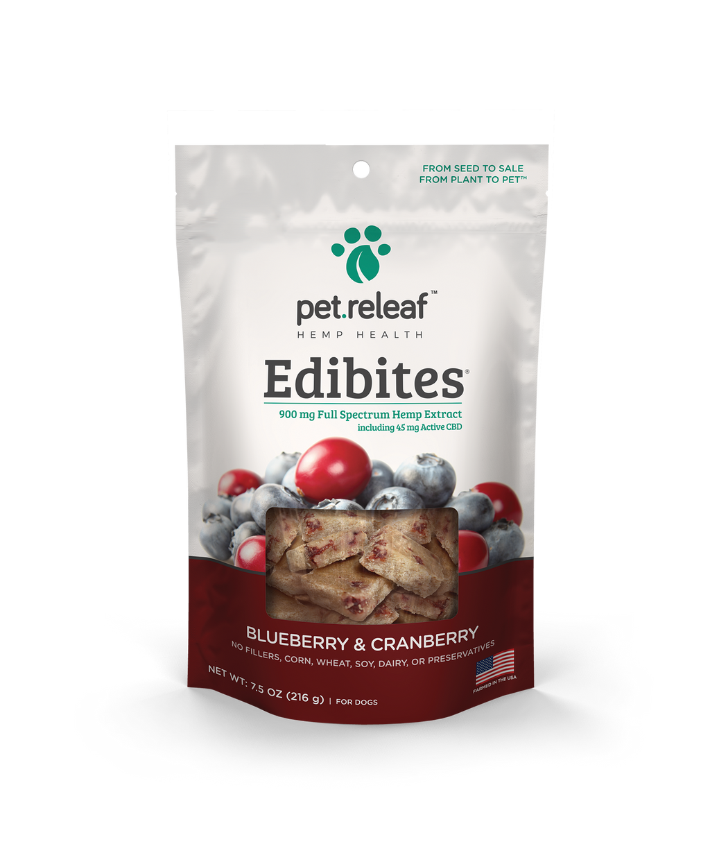Pet Releaf Edibites Crunchy Blueberry and Cranberry 7.5oz bag