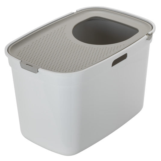 Moderna White & Grey Top Entry Closed Cat Litter Box