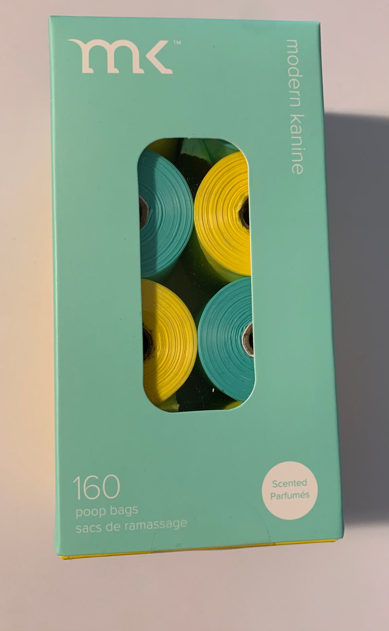 Modern Kanine 8 Rolls of 160count Refill Bags Turquoise & Yellow Scented Pack