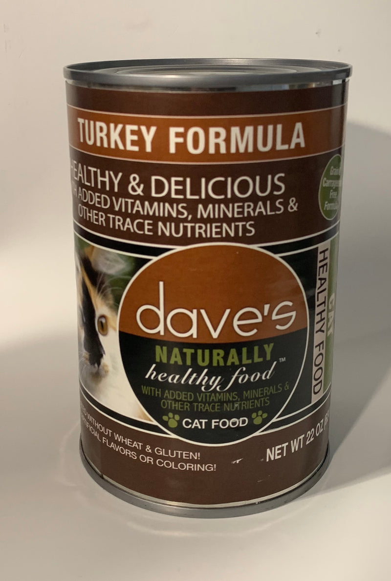 Dave's Naturally Healthy Turkey Formula Canned Cat Food 22oz cans