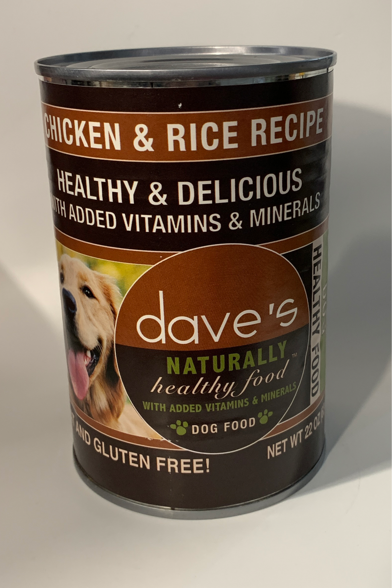Dave's Naturally Healthy Chicken And Rice Canned Dog Food 22oz Cans