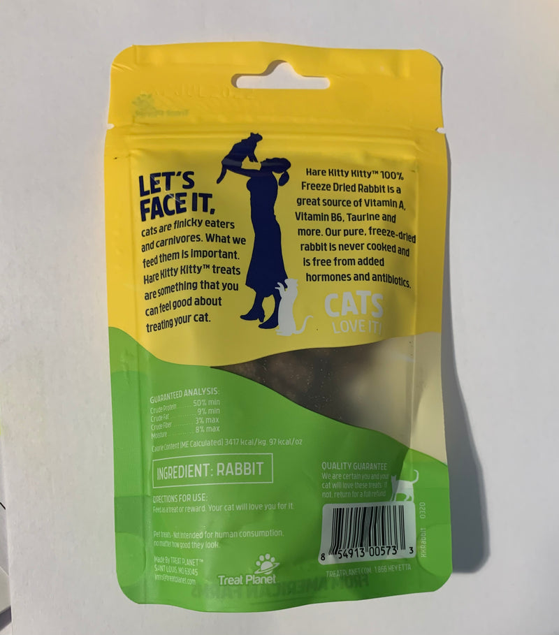 Etta Says Kitty Kitty Cat Hare Rabbit Grain Free Cat Treats 0.9oz bag