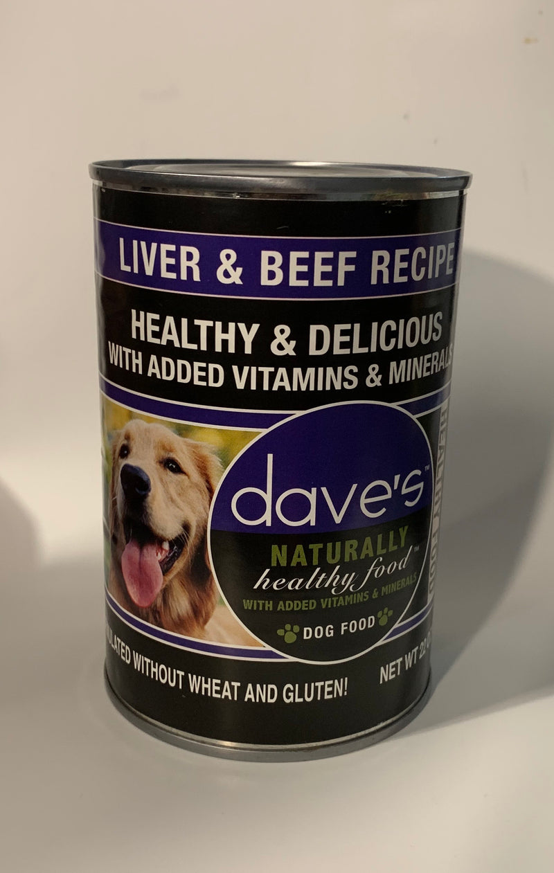 Dave's Naturally Healthy Liver And Beef Canned Dog Food 22oz can